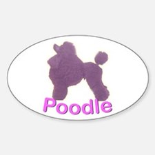 Purple Poodle Oval Decal