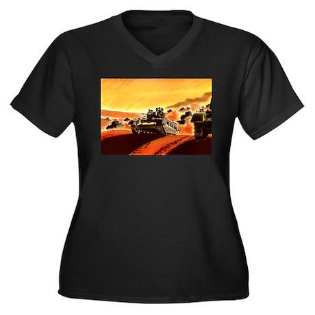 British Tanks Women's Plus Size V-Neck Dark T-Shir