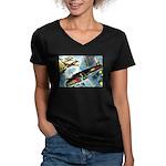 British Bombers Women's V-Neck Dark T-Shirt