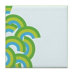 Mellow Blue Retro Tile Drink Coaster