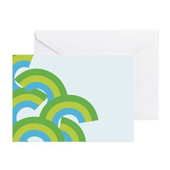 Mellow Blue Retro Greeting Cards (Pk of 20)