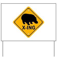 Hippo X-ing Yard Sign