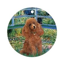 Lily Pond Bridge/Poodle (apri Ornament (Round)