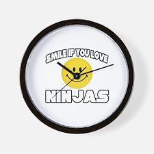 """Smile If You Love Ninjas"" Wall Clock"