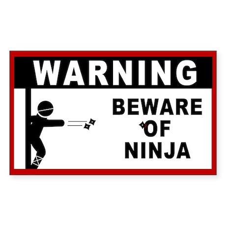 Beware of Ninja Rectangle Sticker 10 pk)