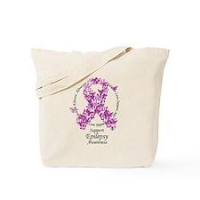 Epilepsy Butterfly Ribbon Tote Bag