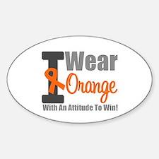 I Wear Orange (Attitude) Oval Sticker (10 pk)