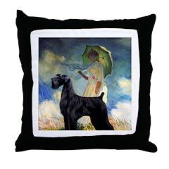Umbrella/Giant Schnauzer (black) Throw Pillow