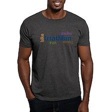 Triathlon Text - Blue T-Shirt