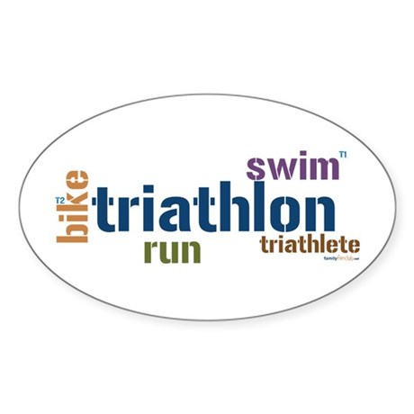 Triathlon Text - Blue Oval Sticker (10 pk)