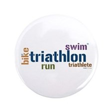 """Triathlon Text - Blue 3.5"""" Button"""