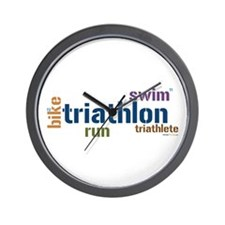 Triathlon Text - Blue Wall Clock