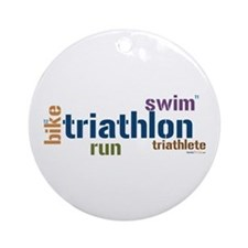 Triathlon Text - Blue Ornament (Round)