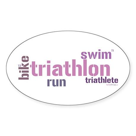 Triathlon Text - Pink Oval Sticker
