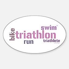 Triathlon Text - Pink Oval Sticker (10 pk)