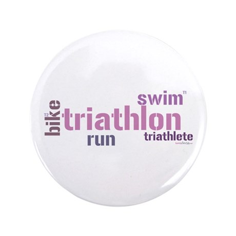 "Triathlon Text - Pink 3.5"" Button"
