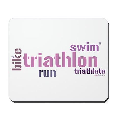 Triathlon Text - Pink Mousepad