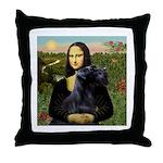 Mona Lisa /giant black Schnau Throw Pillow