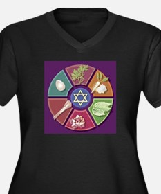 Seder Plate Other Women's Plus Size V-Neck Dark T-