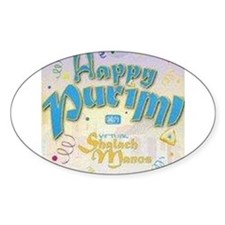 Happy Purim Oval Decal