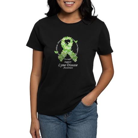 Lyme Disease Butterfly Ribbon Women's Dark T-Shirt