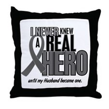 Never Knew A Hero 2 Grey (Husband) Throw Pillow