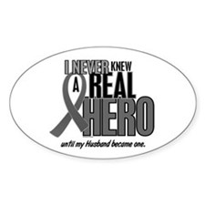 Never Knew A Hero 2 Grey (Husband) Oval Decal