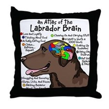 Chocolate Lab Brain Throw Pillow