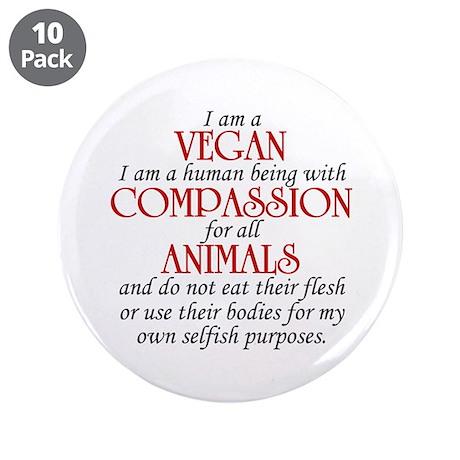 """I Am A Vegan 3.5"""" Button (10 pack)"""