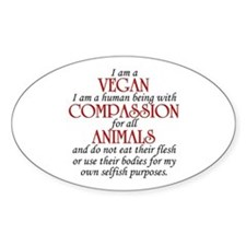 I Am A Vegan Oval Decal