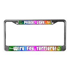 Hippie Wire Fox Terrier License Plate Frame