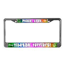 Hippie Tibetan Terrier License Plate Frame