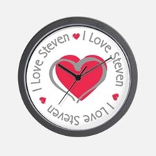 I Love Heart Steven Wall Clock