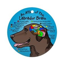 Chocolate Lab Brain Ornament (Round)