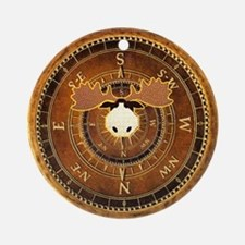 Compass Rose Moose Ornament (Round)