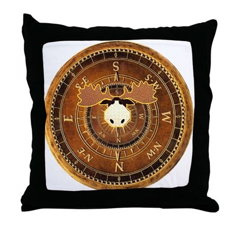 Compass Rose Moose Throw Pillow