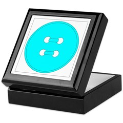 Cyan Button Keepsake Box