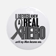 Never Knew A Hero 2 Grey (Mom) Ornament (Round)