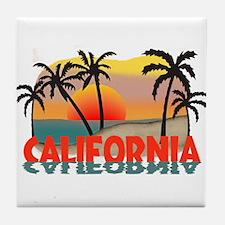 California Sunset Souvenir Tile Coaster