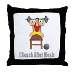 I Bench After Meals Throw Pillow