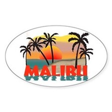Malibu Beach California Souvenir Oval Decal