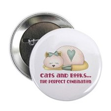 "Cats And Books 2.25"" Button"
