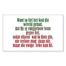 John 3:16 Afrikaans Rectangle Decal