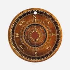 Compass Rose in Brown Ornament (Round)