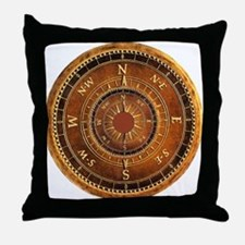 Compass Rose in Brown Throw Pillow