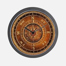 Compass Rose in Brown Wall Clock