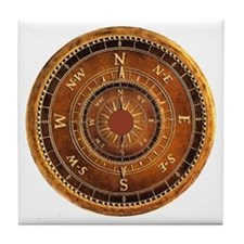 Compass Rose in Brown Tile Coaster
