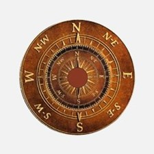 """Compass Rose in Brown 3.5"""" Button"""