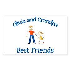 Olivia & Grandpa - Best Frien Rectangle Bumper Stickers