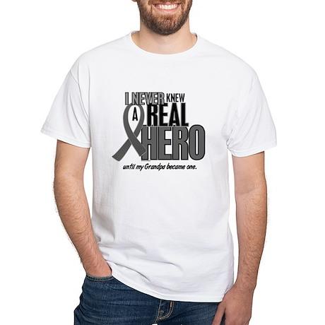 Never Knew A Hero 2 Grey (Grandpa) White T-Shirt